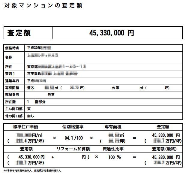 B社の査定書(売買想定価格)