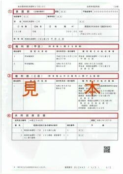 登記簿は主に4パートに分かれている