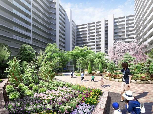 コミュニティガーデンと名付けられる中庭