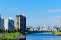 荒川の川原より隅田川に架かる新豊橋と住宅街を望む