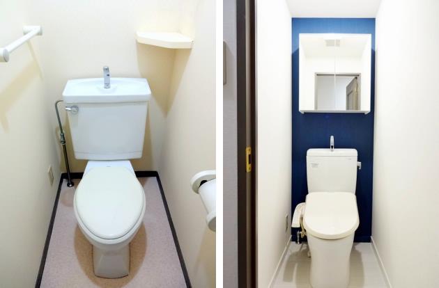 トイレは温水便座式に交換すると印象は良くなるが、費用もかかる。
