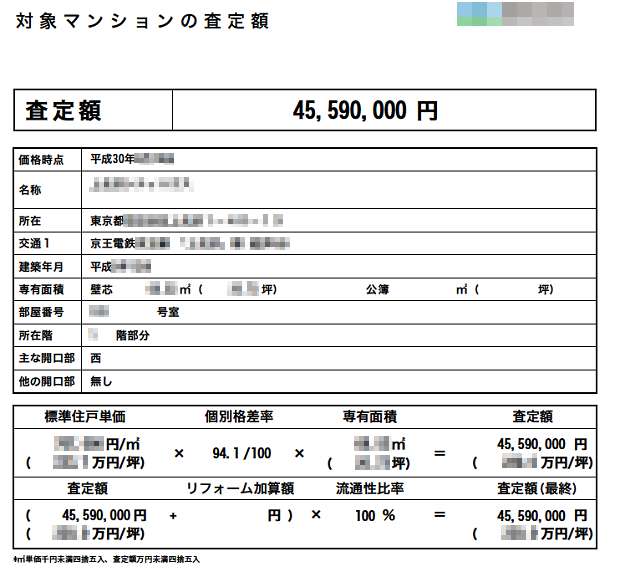 C社の査定書(対象マンションの査定額)