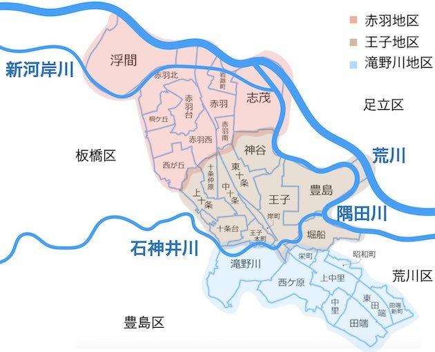 北区(赤羽地区・王子地区・滝野川地区)の3地区と河川の位置図