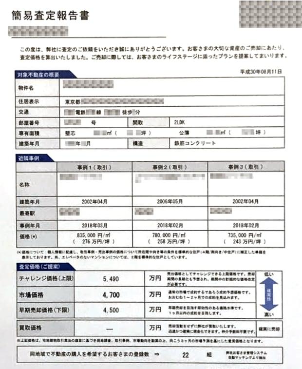 C社の査定書